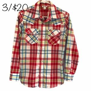 3/$20 Old Navy red plaid men's snap button shirt